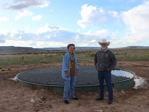 Ranchers Tuda and Jack Crews are working to conserve water at every opportunity on the Ute Creek Cattle Company Ranch, including covering stock tanks with floating balls that minimize evaporative loss.